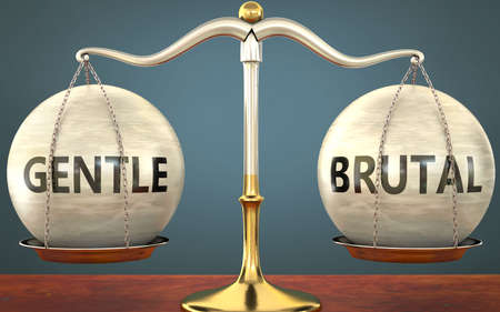 gentle and brutal staying in balance - pictured as a metal scale with weights and labels gentle and brutal to symbolize balance and symmetry of those concepts, 3d illustration