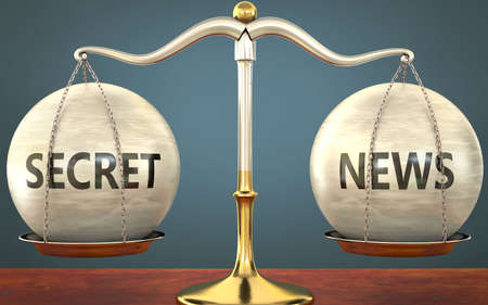 secret and news staying in balance - pictured as a metal scale with weights and labels secret and news to symbolize balance and symmetry of those concepts, 3d illustration