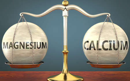 magnesium and calcium staying in balance - pictured as a metal scale with weights and labels magnesium and calcium to symbolize balance and symmetry of those concepts, 3d illustration