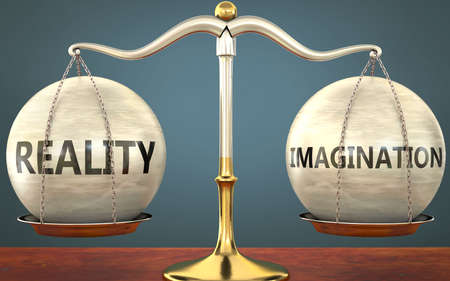reality and imagination staying in balance - pictured as a metal scale with weights and labels reality and imagination to symbolize balance and symmetry of those concepts, 3d illustration 免版税图像