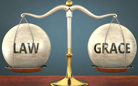 Metaphor of law and grace staying in balance - showed as a metal scale with weights and labels law and grace to symbolize balance and symmetry of law and grace in life or business, 3d illustration