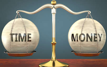 Metaphor of time and money staying in balance - showed as a metal scale with weights and labels time and money to symbolize balance and symmetry of time and money in life or business, 3d illustration