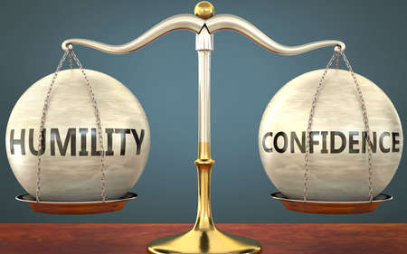 humility and confidence staying in balance - pictured as a metal scale with weights and labels humility and confidence to symbolize balance and symmetry of those concepts, 3d illustration