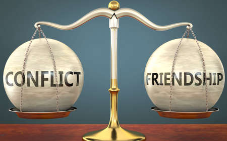 conflict and friendship staying in balance - pictured as a metal scale with weights and labels conflict and friendship to symbolize balance and symmetry of those concepts, 3d illustration