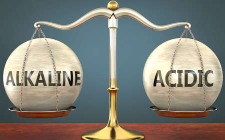alkaline and acidic staying in balance - pictured as a metal scale with weights and labels alkaline and acidic to symbolize balance and symmetry of those concepts, 3d illustration