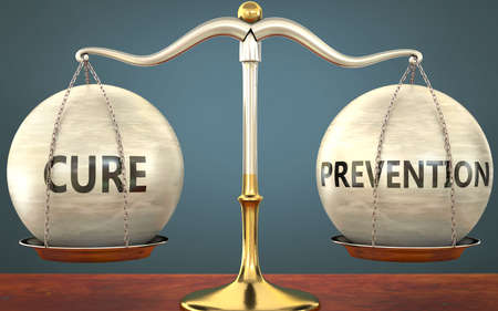 cure and prevention staying in balance - pictured as a metal scale with weights and labels cure and prevention to symbolize balance and symmetry of those concepts, 3d illustration