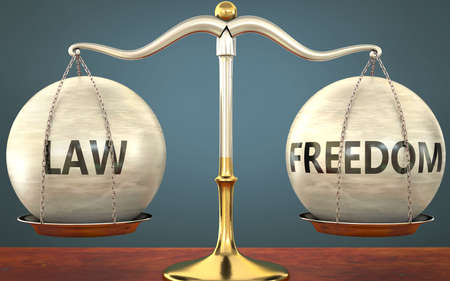 law and freedom staying in balance - pictured as a metal scale with weights and labels law and freedom to symbolize balance and symmetry of those concepts, 3d illustration