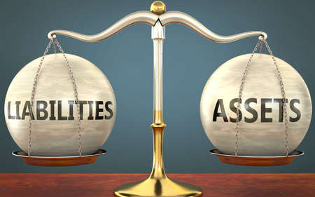 liabilities and assets staying in balance - pictured as a metal scale with weights and labels liabilities and assets to symbolize balance and symmetry of those concepts, 3d illustration