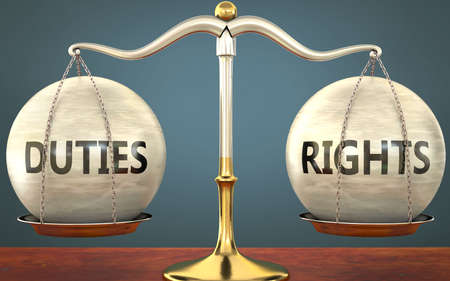 duties and rights staying in balance - pictured as a metal scale with weights and labels duties and rights to symbolize balance and symmetry of those concepts, 3d illustration 免版税图像