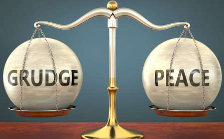 grudge and peace staying in balance - pictured as a metal scale with weights and labels grudge and peace to symbolize balance and symmetry of those concepts, 3d illustration