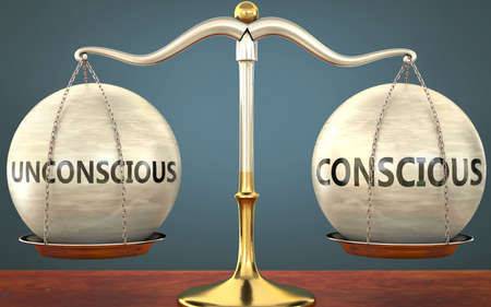 unconscious and conscious staying in balance - pictured as a metal scale with weights and labels unconscious and conscious to symbolize balance and symmetry of those concepts, 3d illustration