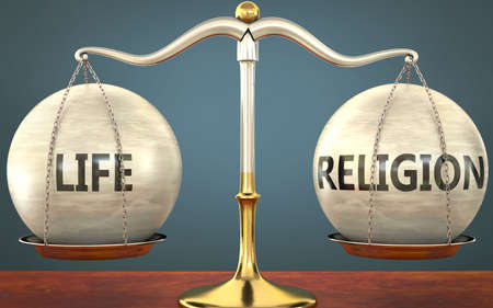 life and religion staying in balance - pictured as a metal scale with weights and labels life and religion to symbolize balance and symmetry of those concepts, 3d illustration