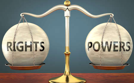 rights and powers staying in balance - pictured as a metal scale with weights and labels rights and powers to symbolize balance and symmetry of those concepts, 3d illustration