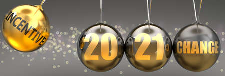 Incentive as a driving force of change in the new year 2021 - pictured as a swinging sphere with phrase Incentive giving momentum to 2021 that leads to a change, 3d illustration