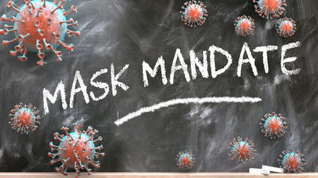 Mask mandate and covid virus - pandemic turmoil and Mask mandate pictured as corona viruses attacking a school blackboard with a written word Mask mandate, 3d illustration