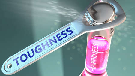 Toughness open the way for happiness and brings joy - shown as a happy bottle opened by Toughness to symbolize the role, effect and impact of Toughness, its good and positive values, 3d illustration