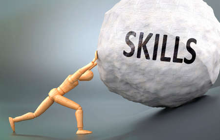 Skills and painful human condition, pictured as a wooden human figure pushing heavy weight to show how hard it can be to deal with Skills in human life, 3d illustration Banque d'images