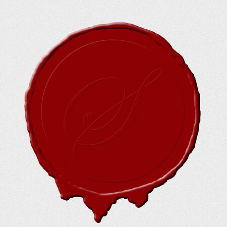 A wax seal image on white scroll paper photo