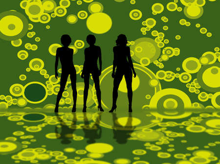 Three sexy models walking on a green bubble background Stock Photo - 754520