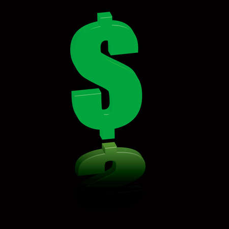 A green dollar sign reflected on a black surface Stock Photo - 754540