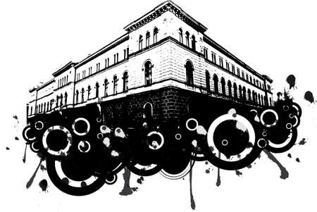 A grunge building with ink splats in black and white photo