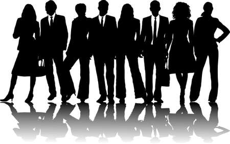 man shadow: 8 silhouette business people in line in black and white