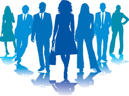 A small group of business people in blue silhouettes photo