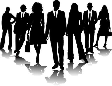 skirt suit: 7 office people in black and white in a arrow formation