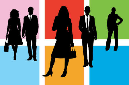 Five silhouette business people on different coloured squares Stock Photo - 782259