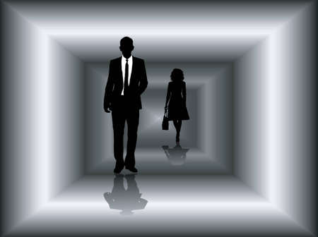 Two business people walking through a tunnel in silhouette photo