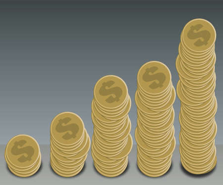 A selection of gold dollar coins arranged in a graph shape Stock Photo - 782254