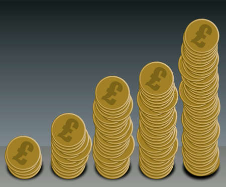 A selection of gold dollar coins arranged in a graph shape Stock Photo - 782245