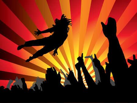 A person jumping at a concert with a abstract background photo