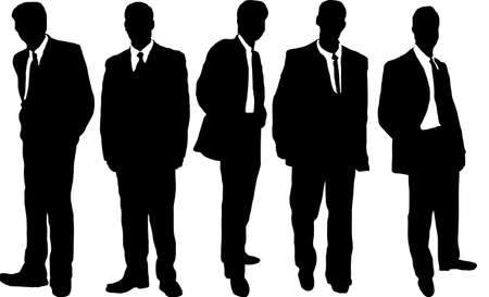 causal: five business men in causal dress style in silhouette