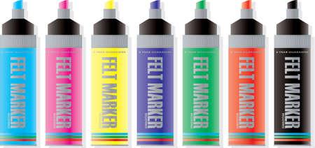 felt: illustrations of felt marker pens in many colours