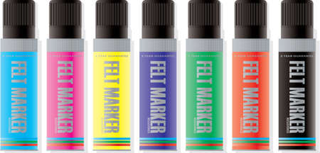 felt: A collection of felt markers illustrated with a drop shadow