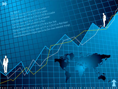An abstract financial background in blue showing a graph for shares Stock Photo - 924402