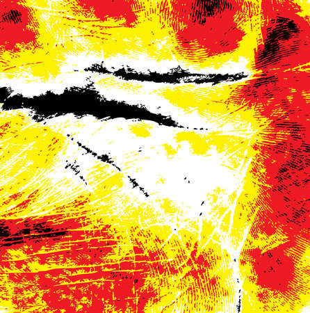 A hand print with abstract swirls in red, yellow and black photo