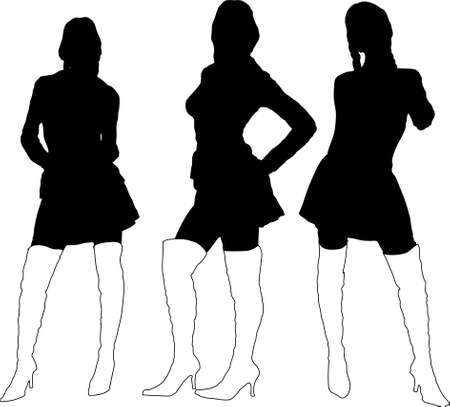 thigh: Three sexy young ladies in black silhouette with thigh high boots on Stock Photo