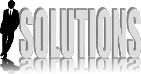 silhoutted: A silhoutted man leaning against the word solutions Stock Photo