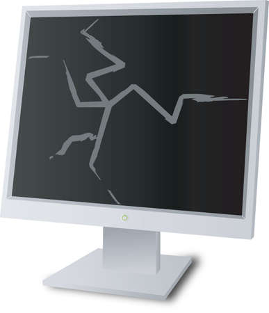 A broken monitor screen to show the problems with down time and bad equipment Stock Photo - 924483