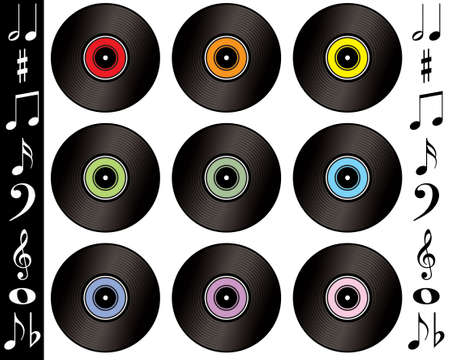 octaves: A collection of records with different colour labels with musical notes