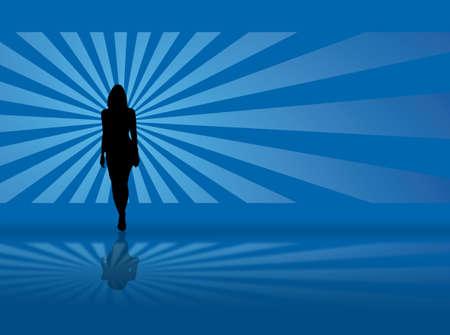 青色の背景とあなたに向かって歩いてセクシーなモデル 写真素材