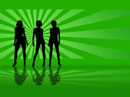 緑の背景であなたに向かって歩いてセクシーなモデル 写真素材