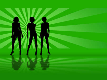 tripple: A sexy model walking towards you with a green background