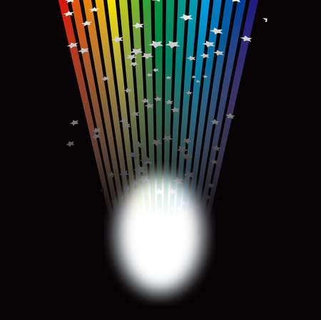 shaft: A single shaft of rainbow light shines onto a spot on the stage Stock Photo