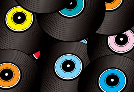 bpm: A collection of vinyl record discs arranged in an abstract way