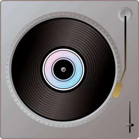 An illustration of a record player in silver metal Stock Photo
