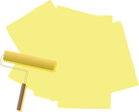 cream filled: A illustration of a roller filled with paint in cream or yellow Stock Photo