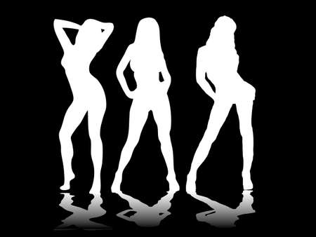 Three sexy women in white silhouette on a black background photo
